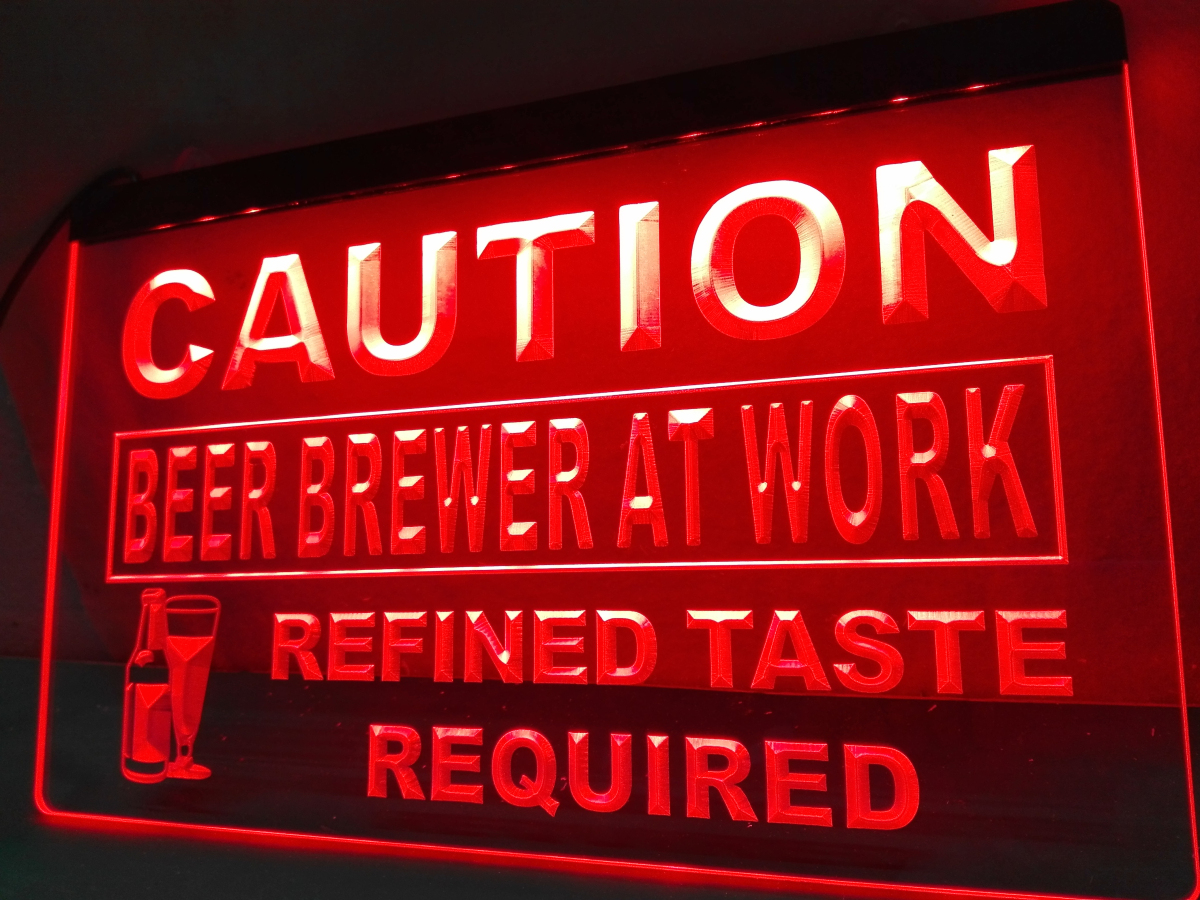 LN544- Caution Beer Brewer at Work LED Neon Light Sign home decor crafts(China (Mainland))