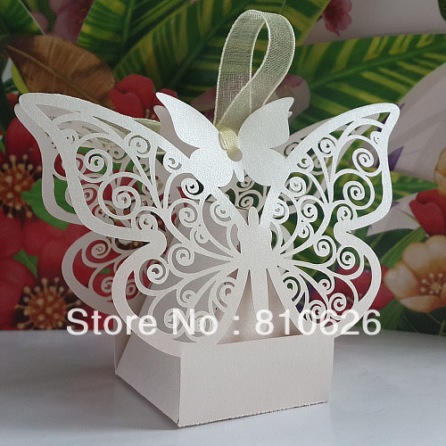 Sample Order Free shipping 10pcs Laser cut White Butterfly Wedding Candy Box Favor Box wedding party gift present Chocolate Box(China (Mainland))