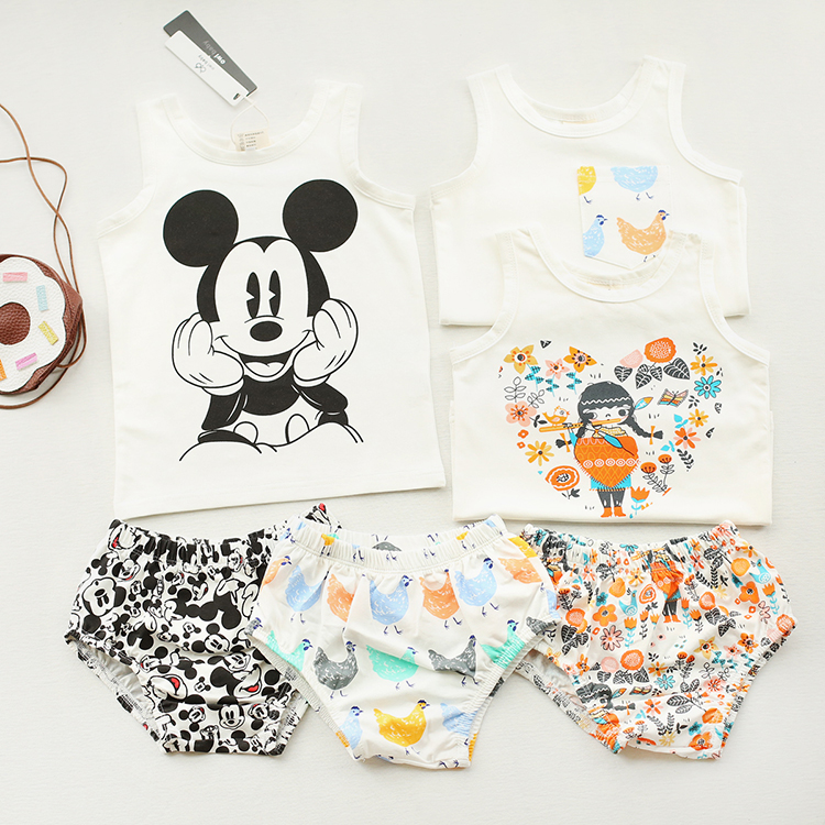 2016 summer BABY BOY CLOTHES baby girl clothes kids vest+shorts 2 pcs clothing sets kids pajama sets family wears kids cartoon(China (Mainland))