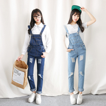 2015 New fashion Women Blue Striped Denim Distresses Front Flap Pocket long Overalls Washed hole Women's Jeans casual Jumpsuit