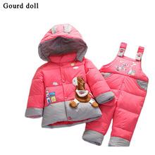 Детские младенческой мальчик в девочке теплая зима комбинезон детский зимний комбинезон верхняя одежда пальто розничная малыш ползунки вниз парки куртки одежда устанавливает 6-24 месяц(China (Mainland))