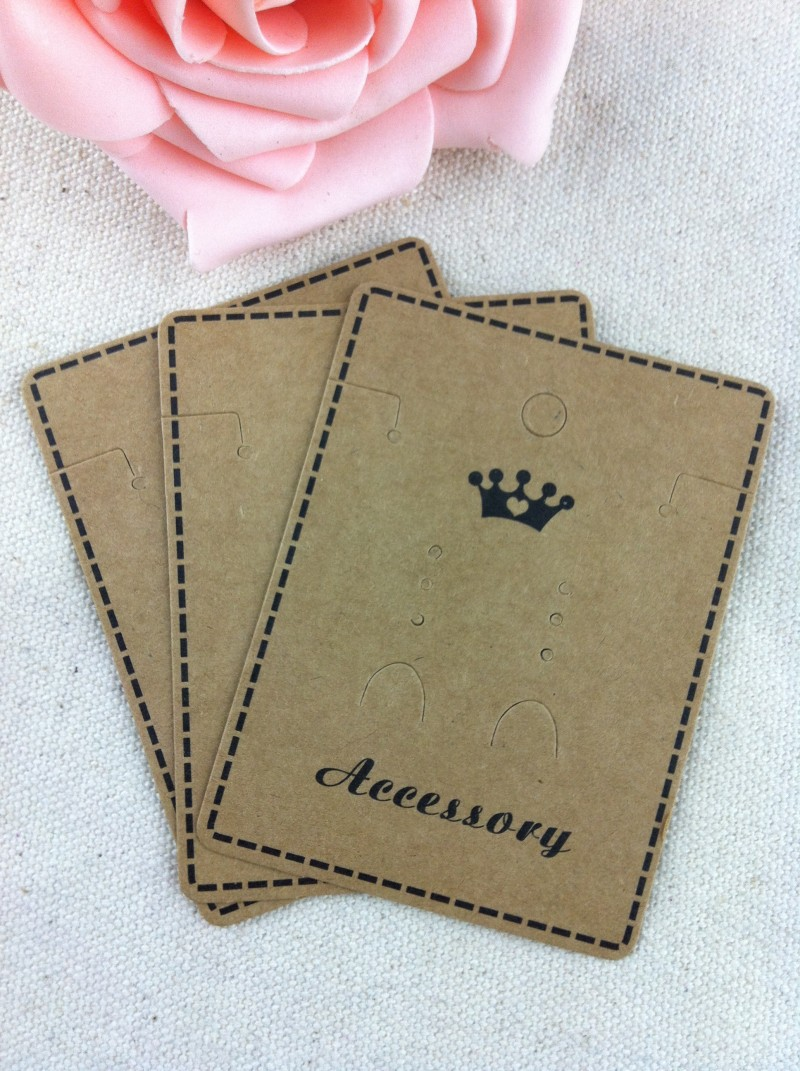 Wholesale 1000pcs Brown Paper Crown Custom Jewelry/Earring/Necklace Packaging Jewelry Setting Display Cards For Free Shipping(China (Mainland))