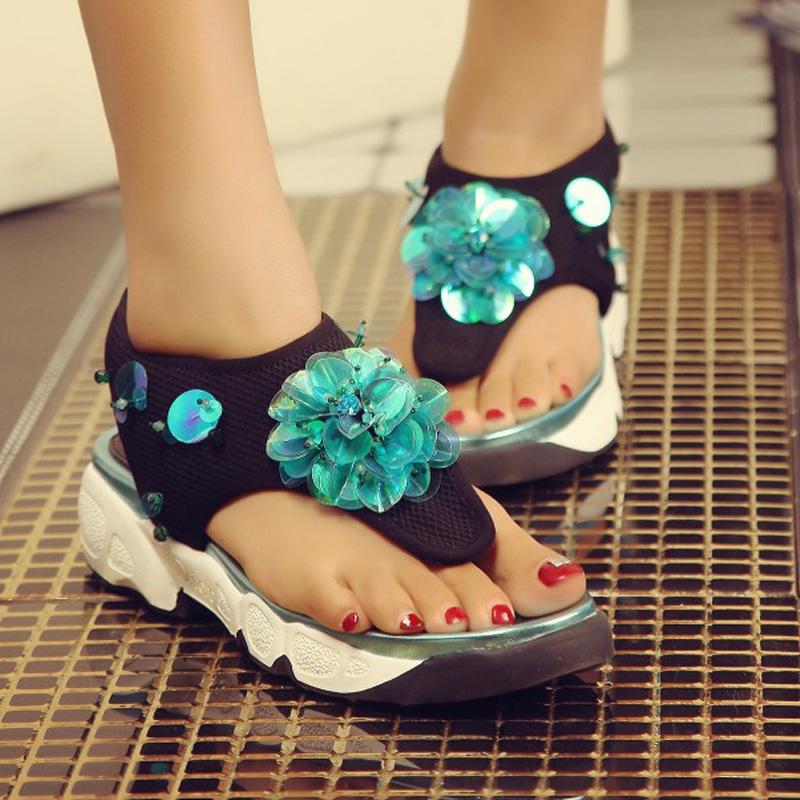 2016 Brand women flat platform shoes Genuine Leather summer Gladiator sandals Flip-flop Sandals Flat Women's Shoes zapatos mujer
