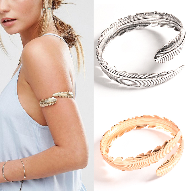 Feather jewelry Gold Color Plated Upper arm bracelet & bangle Charm Women Leaf Shaped Punk Open Cuff Gypsy Bangles Hot Sale(China (Mainland))
