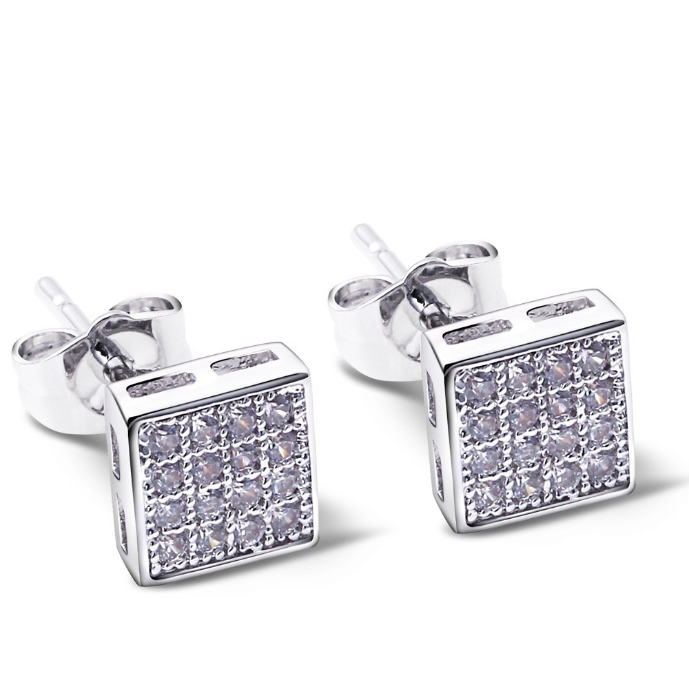 Nice Looking Women Stud Earrings Button shape Fashion Small Earrings Nickel Free Made with AAA Cubic Zirconia Platinum Plated(China (Mainland))