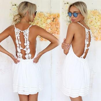Feitong 2015 сексуальный белый женщины лето спинки вязание крючком кружева свободного покроя пляж платья Vestido ренда бранко халат бланко бесплатная доставка