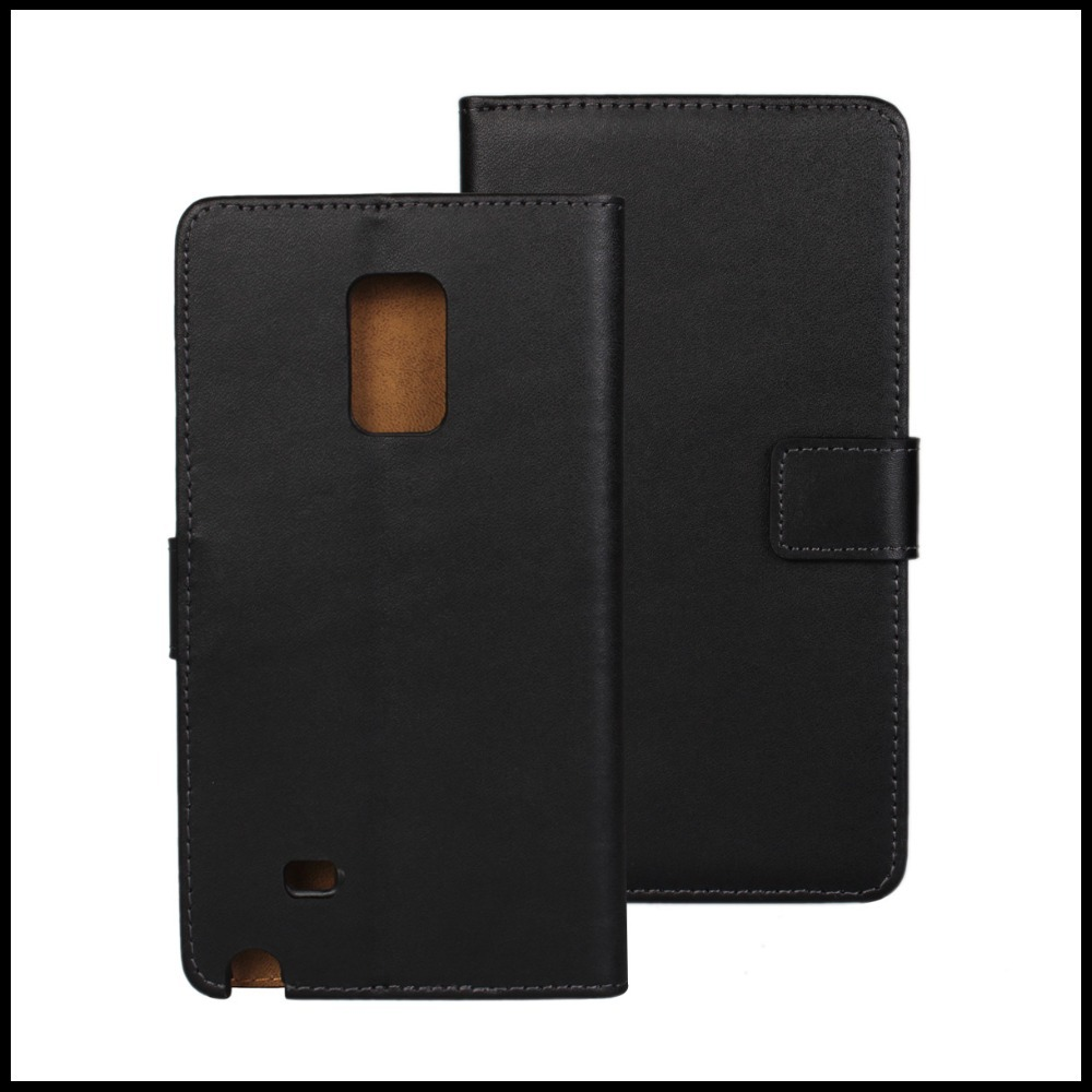 2014 News Genuine Wallet Stand Plain Leather Case Cover for Samsung Galaxy Note Edge N9150 Phone with Cardholers + 100 pcs / lot(China (Mainland))