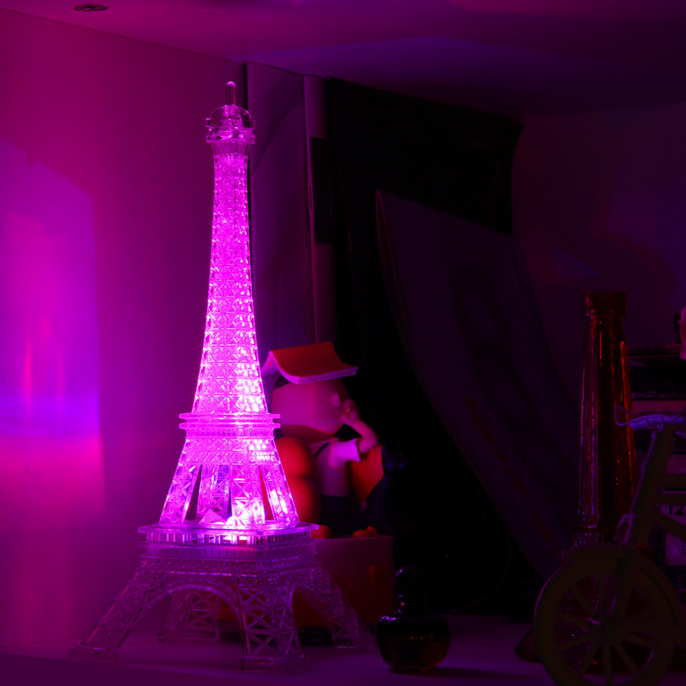 Romantic eiffel tower color changing led night light for Bedroom night light