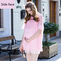 Maternity summer new was thin loose short sleeved chiffon dress comfortable breathable fresh pregnant woman H