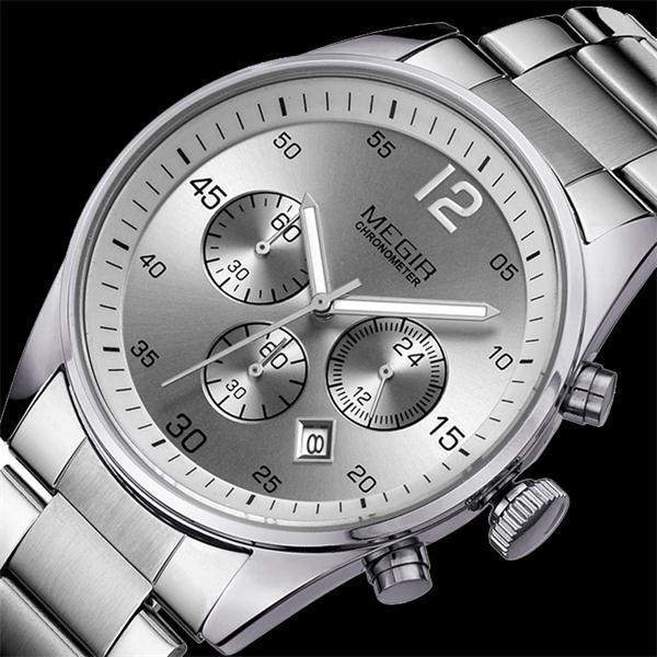 MEGIR Watches Men Top Brand Military Clock Chronograph Function Men Staniless Steel Luxury Watches Men Quartz