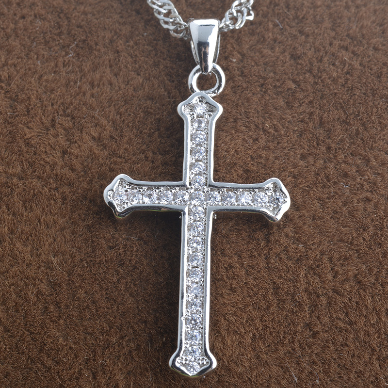 Cross Pendants Necklaces For Women Men Cubic Zircon Bijoux Femme Cross Charm Classic Long Jesus Necklace DZA65(China (Mainland))