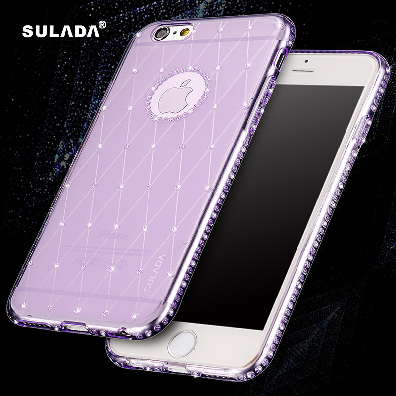 SULADA Mobile Phone Rhinestone Case For iPhone 6 6S TPU Cases Cover For Apple iPhone 6 Plus 6S Plus Glitter Diamond Grid Shell(China (Mainland))