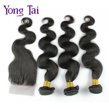 Peruvian virgin hair 4pcs/lot body wave lace closure with bundles virgin human hair extension Peruvian body wave fast shipping(China (Mainland))
