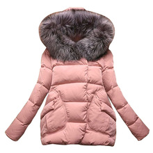 New Winter 2016 Women Jackets Cotton Full Sleeve Covered button with pocketswomen Hat with Feathers Ultra