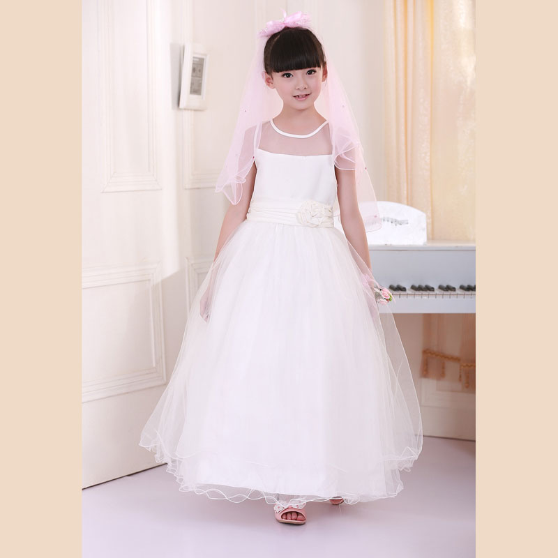 Promotion Retail 2014 New Girl long Lace flower sleeveless wedding Girl kids Party dress free shipping LP-52(China (Mainland))