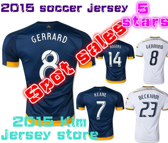 top thai quality 2015/16 LA galaxy Jersey 15 16 MLS Los Angeles Galaxy GERRARD BECKHAM KEANE DONOVAN soccer Football shirt(China (Mainland))
