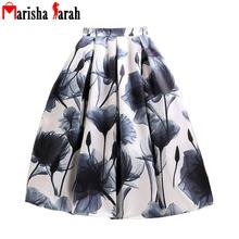Midi Skirt 2016 Summer Women High Waist Pleated Tutu Skirts Skater Vintage Casual Knee Length Saia Petticoat Large Swing Printed