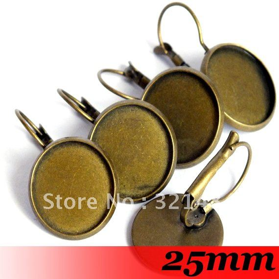 Free ship! Antique bronze 200piece 25mm Round Cabochon Setting Leverback Hook Stud Earing blanks and base trays bezel