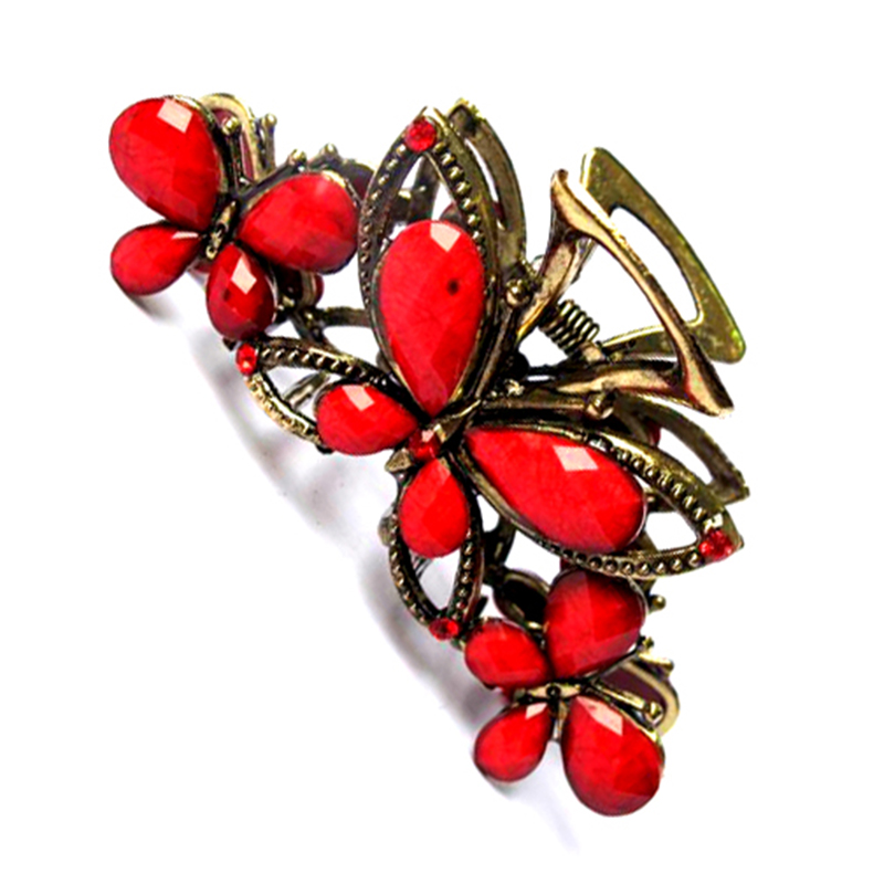 2016 New Style Alloy Crystal Rhinestone Butterfly Hair Grip Clip Hair Catch Hair Claw For Women EF509(China (Mainland))