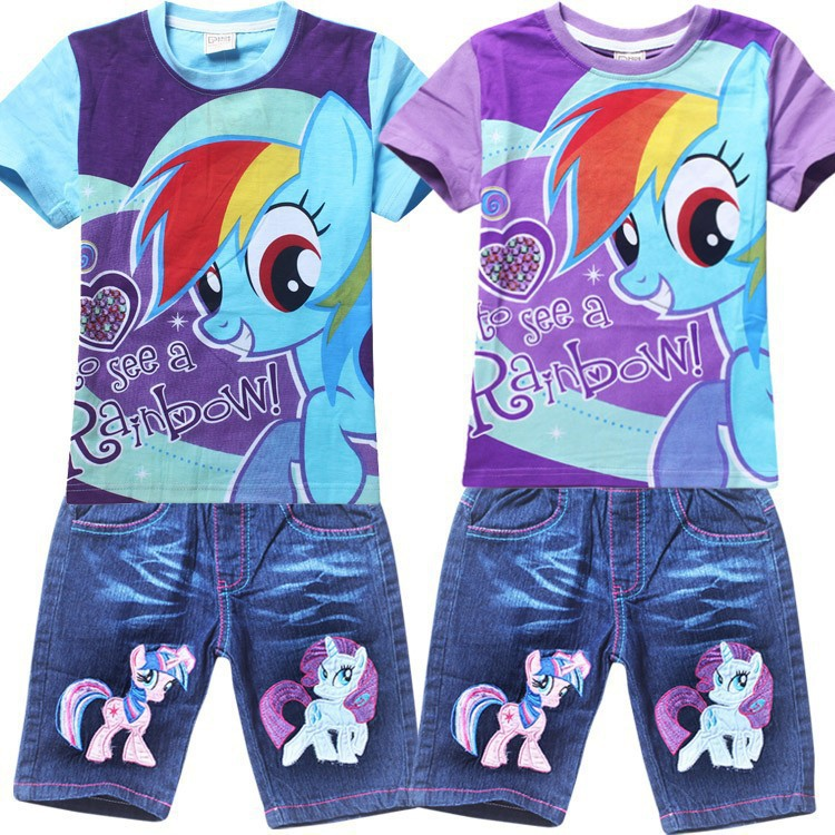 Retail! Children's suit 2015 new girls Clothing Set Kids my little pony t-shirt+jeans fashion cartoon clothes suits 2colors(China (Mainland))