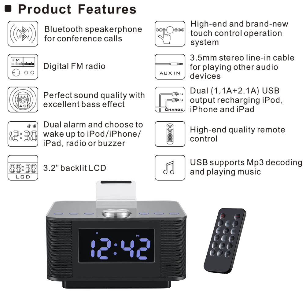 H7 Bluetooth V2.1+EDR Dual USB Speaker Docking Station for Android For iPhone for iPad With Radio Alarm Clock L3FE(China (Mainland))