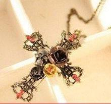 Free Shipping,N051 ,Punk Vintage Metal Skull Flower Cross Alloy Pendant Necklace Sweater Chains 74322(China (Mainland))