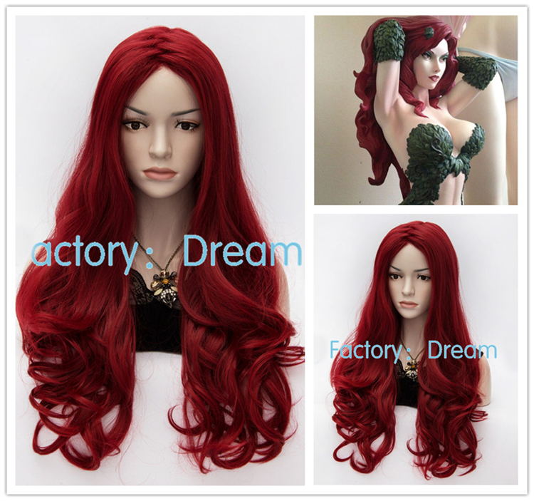 Best Quality ! Fahion Styled BATMAN Poison Ivy High Quality Wine Red Long Party Cosplay Wig Heat Resistant Fibre Hair Wigs(China (Mainland))