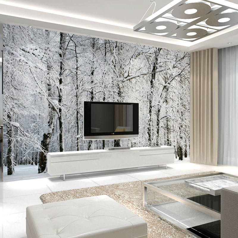 Large Wall Murals Papel De Parede Snow Birch Trees Forest