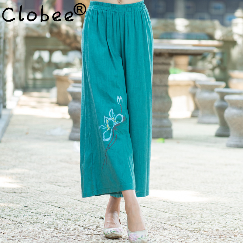 Leisure New Pant For Women Spring Summer Long Speaker Trouser Fashion Print Loose Elastic Waist 2017 New Arrival Wide Leg Pant(China (Mainland))