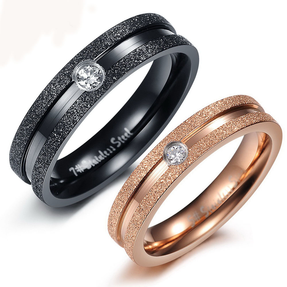 Fine Jewelry Stainless Steel Couple Promise Rings Rose Gold Plated Shinning Crystal Women Bulgary Wedding RS023 - dreamfly party balloons store