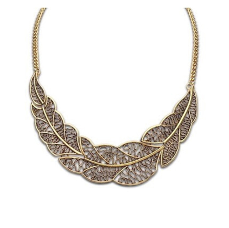 Hot Collier Femme Women Collar Gold Silver Chain Zinc Alloy Leaf Pendant Necklace statement necklace for women jewelry bijoux(China (Mainland))