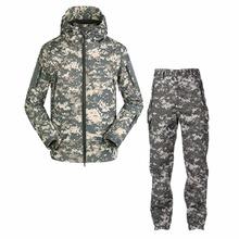 Outdoor Lurker Shark skin SoftShell Tactical Men Army Jacket Waterproof Hunting Clothing Set Military Jacket+Pants suit Uniform