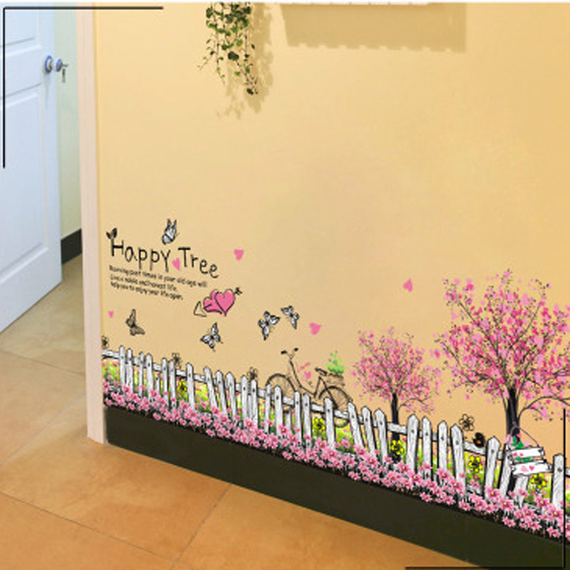 1pcs Fairy Garden Flower Fence Skirting Line Wall Stickers Decals Living Room Bedroom Lobby Corridor Home Accessories Poster diy(China (Mainland))