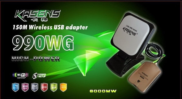 HIGH POWER Network Cards 2012 Kasens 990WG New Launch 60DBI Panel WI FI Antenna 3070 Connector Wireless USB Adapter Wifi 6000MW ()