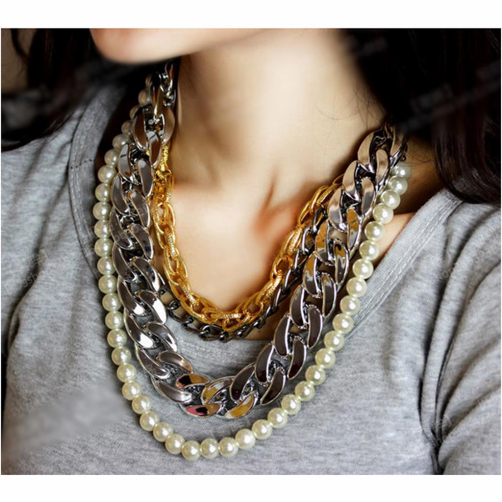 Women Gun black big chunky necklaces gold chain big pearl multilayer sweater chain necklace CX219(China (Mainland))
