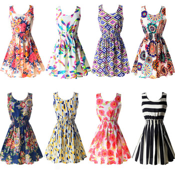Бесплатная доставка лето сексуальная женщин шифон пляж платье без рукавов сарафан цветочные мини-платья M-XXL 2015 21 цветов