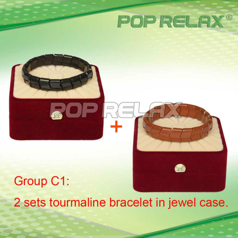 Free Shipping! 2sets Tourmaline magnetic therapy bracelet health anion POP RELAX Group C1(China (Mainland))