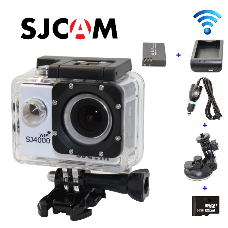 Free shipping!!Original SJ4000 WIFI Sport Camera+Car Charger+Holder+Battery Charger+Extra battery+16GB TF Card for DV Camera<br><br>Aliexpress