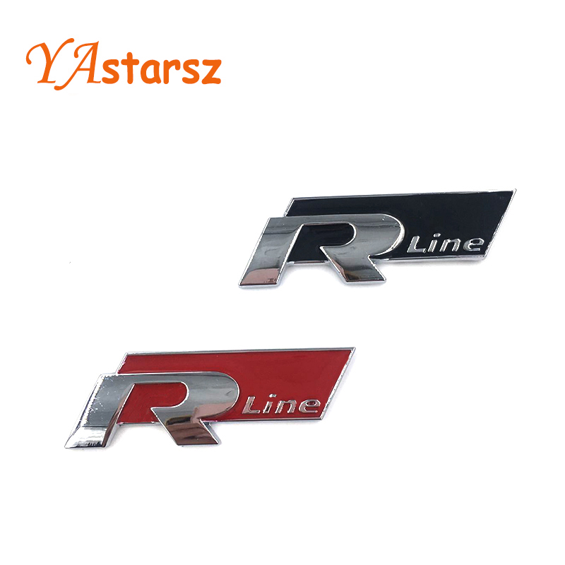 Rline R Line Chrome Alloy Trunk Badge Emblem Car Stickers for Volkswagen VW Golf 4 5 6 GTI Touran Tiguan POLO BORA Passat B5 B6(China (Mainland))