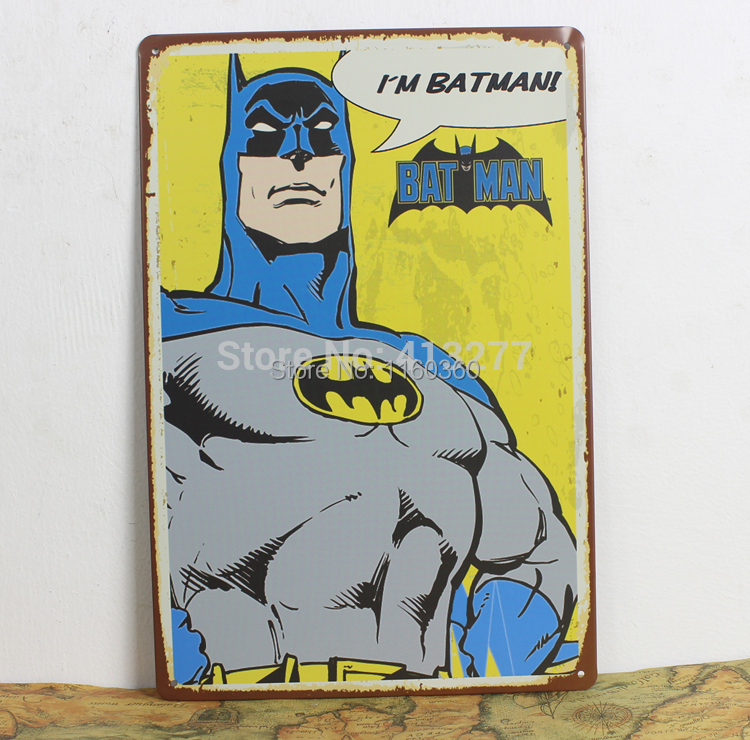 20*30CM Artesanato Bat Man Comic Poster Vintage Home Decor Wall Sticker Iron Metal Signs Plaques Living Room Bedroom Bar Cafe(China (Mainland))