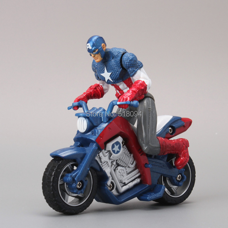 Captain America in Motorcycle PVC Action Figure Model Toy Boys Toys Christmas Gift 10CM Free Shipping HRFG185(China (Mainland))