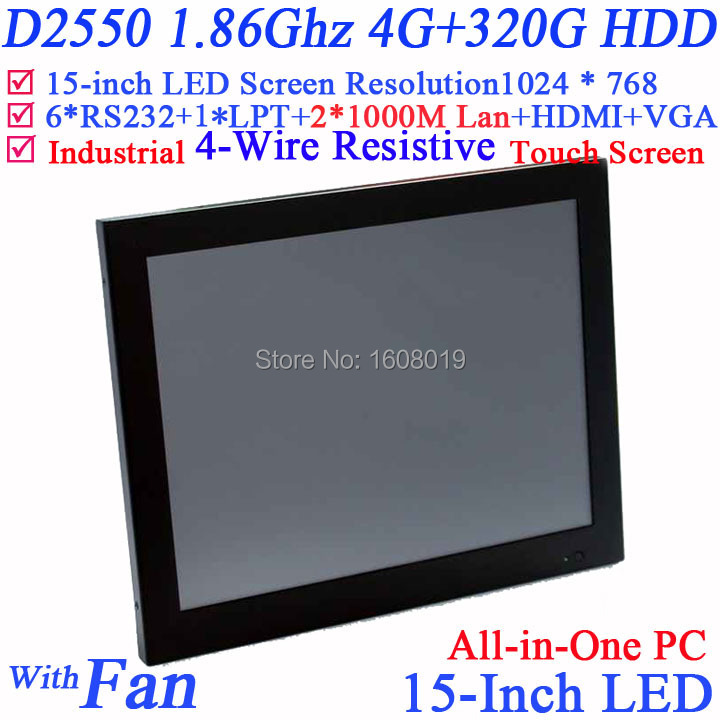 Embeded Windows XP/7 15 inch all in one touchscreen computers with Intel D2550 1.86G 1024*768 HDMI 2*RJ45 6*COM 4G RAM 320G HDD