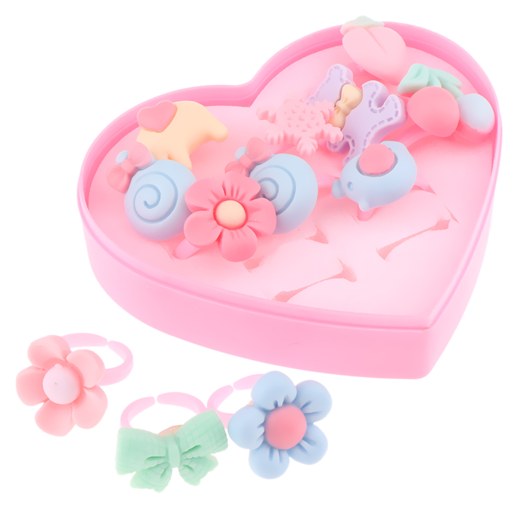 12pcs/Box Adorable Handmade Assorted Finger Rings, Pretend Play Dress Up Game Simulation Jewelry Toy for Girls