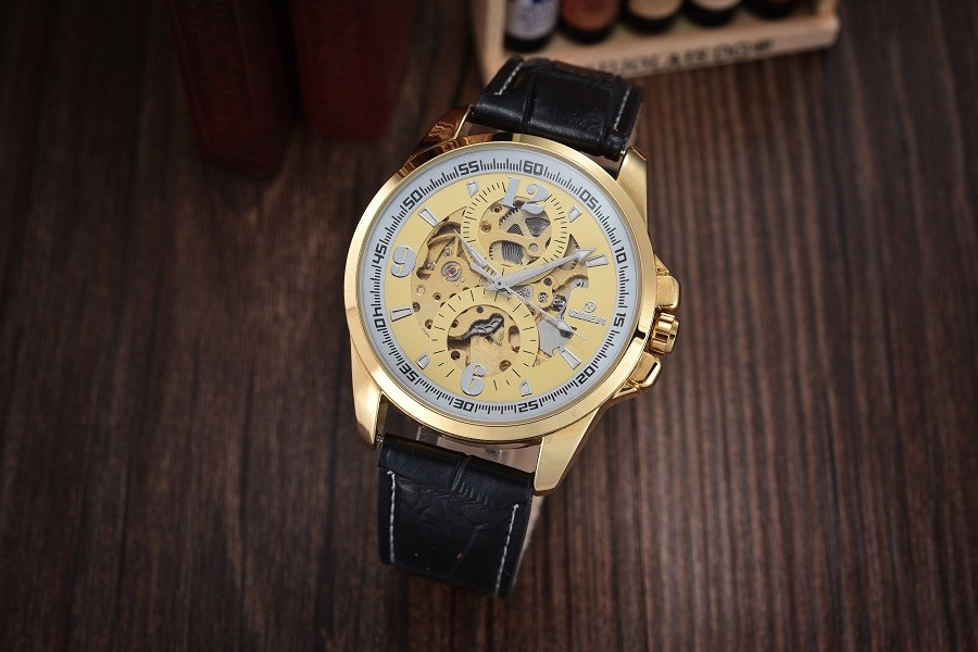 GOER марка мужские механические наручные часы водонепроницаемые спортивные часы мужчины Автоматическая Световой Скелет Кожа