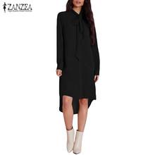 Buy 2017 ZANZEA Women Blusas Casual Loose Chiffon Shirt Dress Elegant Long Sleeve Asymmetrical Blouse Tops Plus Size Blusas Vestidos for $9.42 in AliExpress store