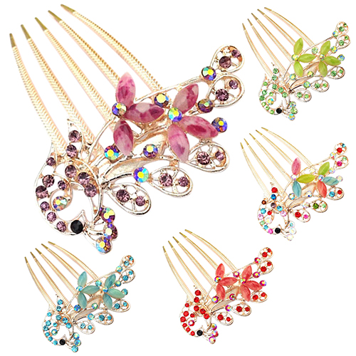 2016 New Women's Antique Colorful Peacock Rhinestone Hairpin Elegant Tuck Comb Hair Clip 4RT(China (Mainland))