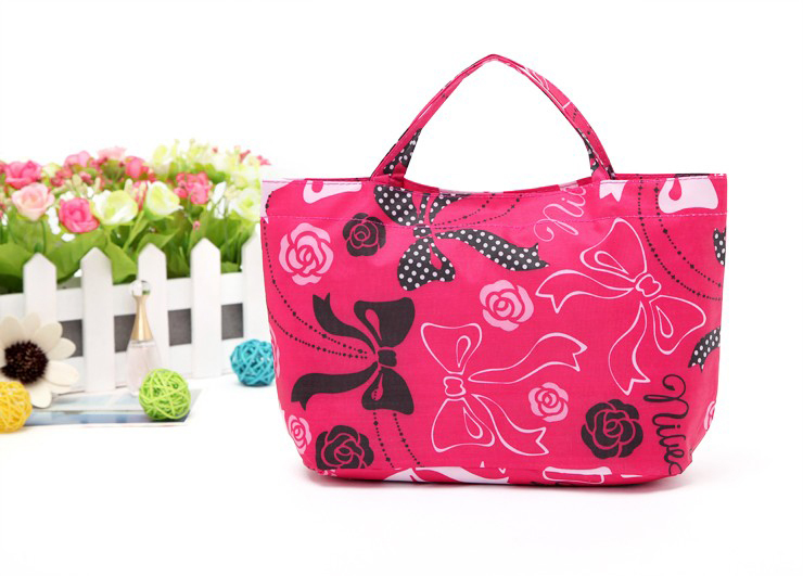 Free Shipping 2013 Water-Proof Storage Bag for Sundries Hot Pink Color with Florals Pattern and Bow for Women Handbag<br><br>Aliexpress