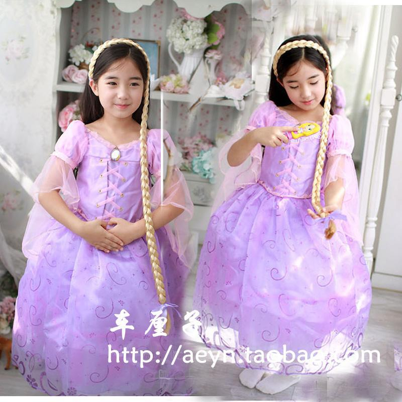 Livraison gratuite Rapunzel robe filles robe de princesse de mariage petites filles robe de soirée de noël Halloween avec couronne, Perruque et peigne(China (Mainland))