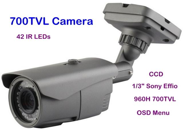 "Security 1/3"" Sony Effio-E  CCD 960H 700TVL OSD Menu 42 IR  with 2.8-12mm Manual Zoom Lens Waterproof Camera"