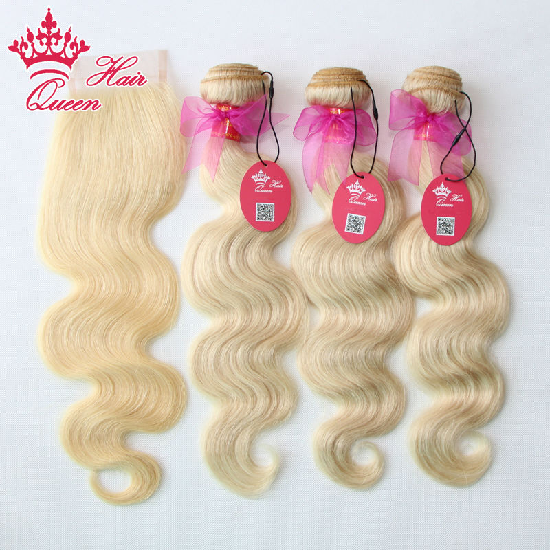 Гаджет  Queen Hair Products 4pcs/lot Brazilian Virgin Hair Body Wave 5A Grade Human Hair Lace Closure with Bundles, Bleached #613 Blonde None Волосы и аксессуары